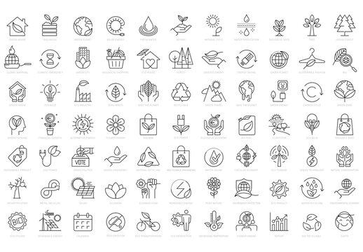 Green Economy Vector Line Icon Set