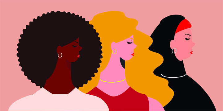Women's day 8 march celebration. international female portraits of different cultures and nationalities. Women's empowerment movement and unity concept. Flat design characters. Vector illustration.