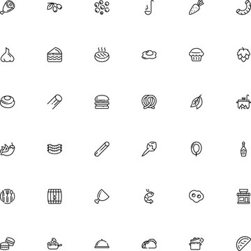 icon vector icon set such as: vitamins, confection, hand, france, italy, graphics, board, storefront, wood, macaroon, tacos, round, rigatoni pasta shape, new, brewery, turkey, boutique, engraving