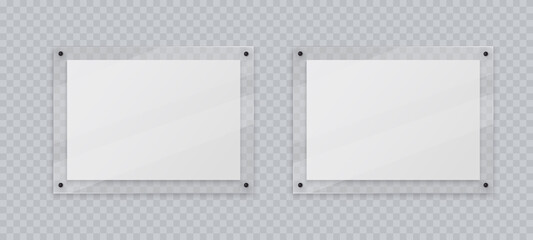 Fototapeta Acrylic frame mockup, two horizontal glass plate for poster of photo, realistic mockup isolated hanging on transparent wall. White blank banners on plexiglass display, 3d vector illustration.