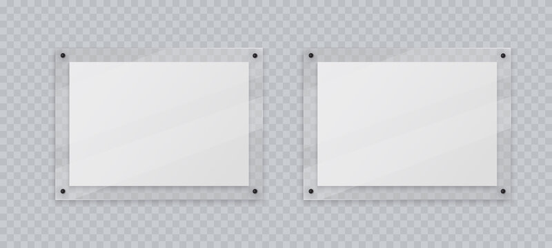 Acrylic frame mockup, two horizontal glass plate for poster of photo, realistic mockup isolated hanging on transparent wall. White blank banners on plexiglass display, 3d vector illustration.