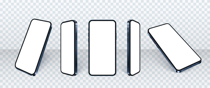 3d Realistic phone mockup, set of different angles mobile smartphone isolate in front of the wall. Blank screens for present app or web design. 3d cellular concept, vector illustration.