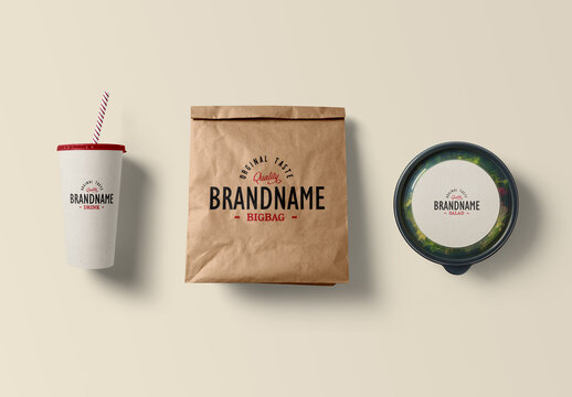 Bag with Paper Cup and Salad Mockup