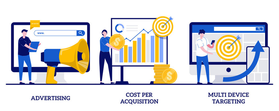Advertising, cost per acquisition, multi device targeting concept with tiny people. Online digital campaign abstract vector illustration set. Media planning, PPC strategy, promotion metaphor