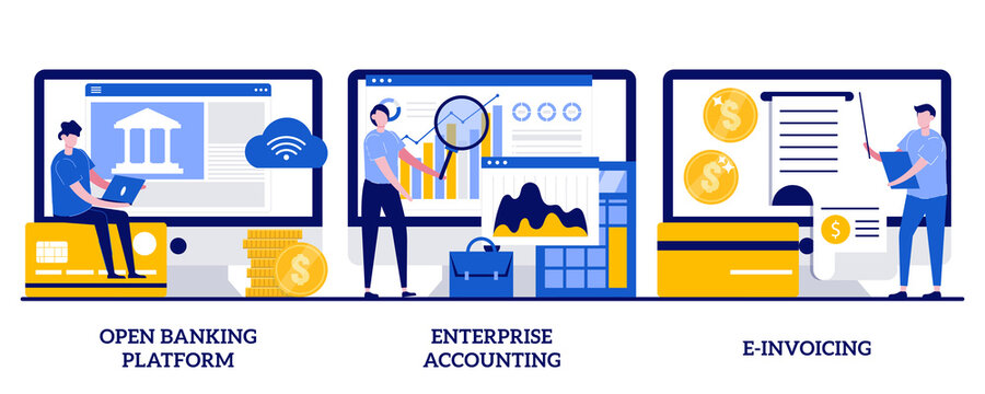 Open banking platform, enterprise accounting, e-invoicing concept with tiny people. IT accounting system abstract vector illustration set. Business financial software, electronic invoice metaphor