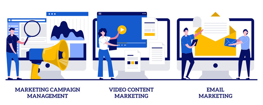 Marketing campaign management, video content and email marketing concept with tiny people. Campaign tracking and analysis vector illustration set. Social media metrics, audience engagement metaphor