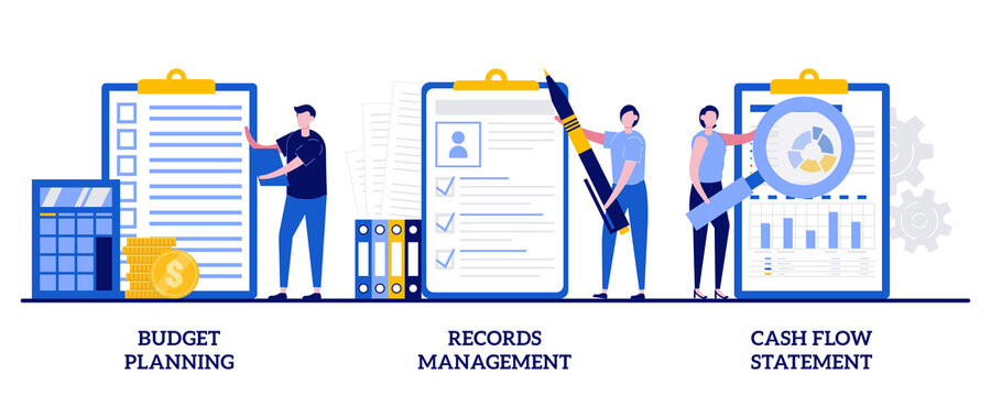 Budget planning, records management, cash flow statement concept with tiny people. Money savings estimation abstract vector illustration set. Files organization system, financial report metaphor