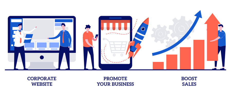 Corporate website, promote your business, boost sales concept with tiny people. Business management vector illustration set. Startup lunch, sales and profit increasing, company webpage metaphor