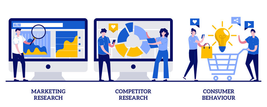Marketing research, competitor research, consumer behaviour concept with tiny people. Targeting strategy abstract vector illustration set. Focus group, survey agency, target audience metaphor