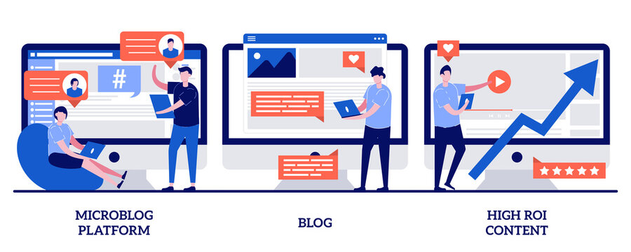Microblog platform, blog and high ROI content concept with tiny people. Social media marketing abstract vector illustration set. Influencer, followers and subscriptions, viral content metaphor
