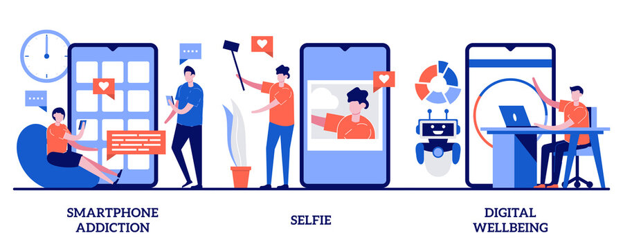 Smartphone addiction, selfie, digital wellbeing concept with tiny people. Digital culture abstract vector illustration set. Phone checking, social network, digital camera, stress management metaphor