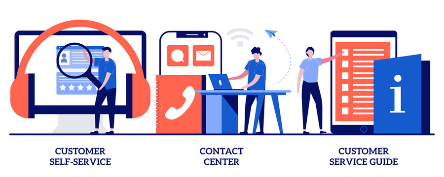 Customer self-service, contact center, customer service guide concept with tiny people. Client support online helpline abstract vector illustration set. Digital product maintenance tutorial metaphor
