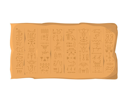 Cartoon Color Egyptian Hieroglyphs Board Concept. Vector