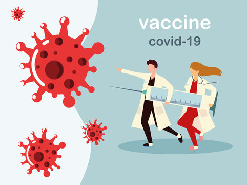 woman and man doctors holds big syringe with vaccine, doctor prevents covid 19