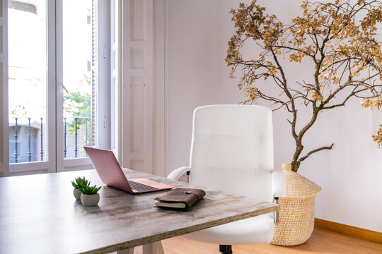 Comfortable white chair placed at wooden table with opened laptop and notebook in stylish cozy room with potted tree in daylight