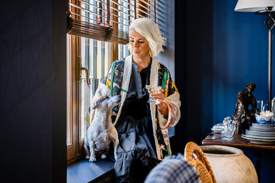 Elegant middle aged lady caressing purebred dog while sitting on windowsill and drinking wine in room with stylish vintage interior design