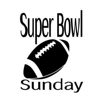 Super Bowl Sunday, Ball silhouette and inscription