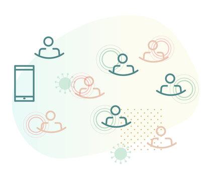 Using Contact Tracing App for Coronavirus - Icon