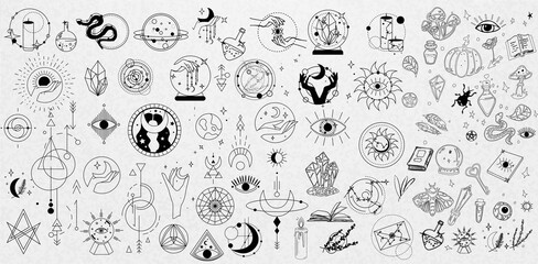Obraz Collection of Mystical and Astrology objects. Mystical signs, silhouettes, zodiac signs. Astrological and magical elements are isolated on a white background. Astronomy. Line art illustrations - fototapety do salonu