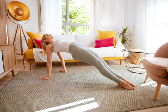 Side view of young fit concentrated female in sportswear standing in Upward Plank asana while practicing yoga in stylish living room
