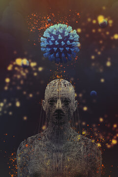 3d visualization of blue virus cell over head of man for health care conceptual design with blurred background