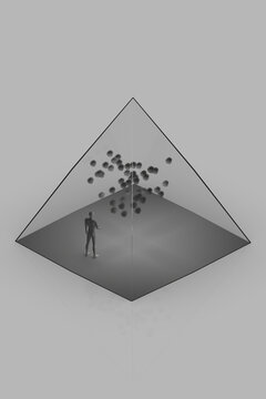 3d illustration with abstract human figure inside transparent glass tetrahedron with many virus cells