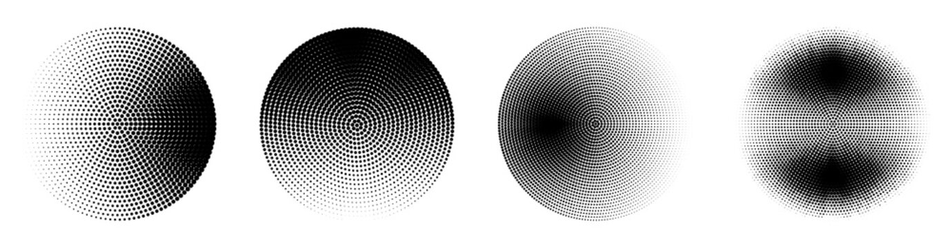 Set of halftone circles. Abstract dotted background. Texture of black dots. Monochrome gradient background. Vector illustration.