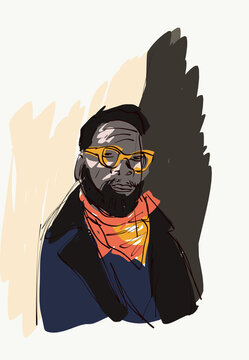 Vector illustration of African American male hipster in trendy outfit and modern glasses