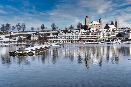 Winter sceneries of the charming old city of Rapperswil, Rapperswil-Jona, St. Gallen, Switzerland
