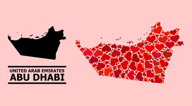 Love mosaic and solid map of Abu Dhabi Emirate on a pink background. Mosaic map of Abu Dhabi Emirate is designed with red valentine hearts.
