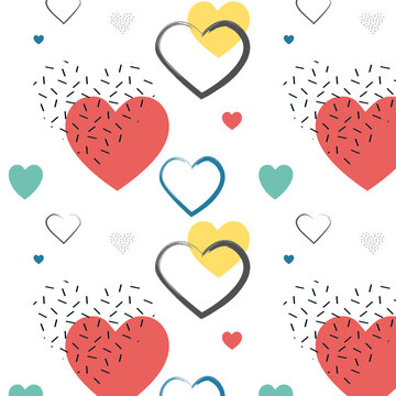 Valentines Day romantic background. Cute flat design. Yellow, pink and black hearts pattern. Trendy, minimalist, geometric style..Fun pattern. Memphis style. Abstract retro background. Bright colorful