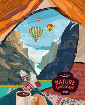 Travel in a tent in nature. Vector illustration of a tourist having a rest with a view of a mountain landscape and balloons. Drawing for a poster, postcard or cover