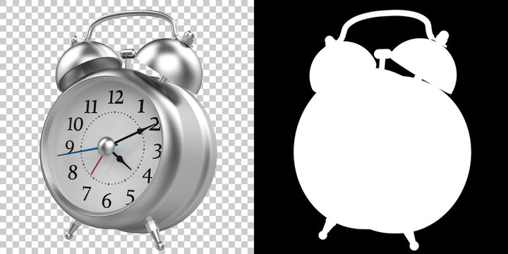 Alarm clock isolated on background with mask. 3d rendering - illustration