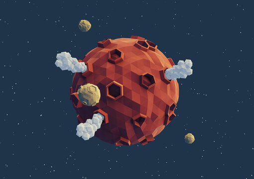red volcanic planet low poly 3d render
