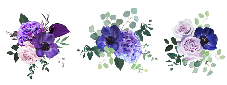 Marvelous violet, purple and burgundy anemone, dusty mauve and lilac rose