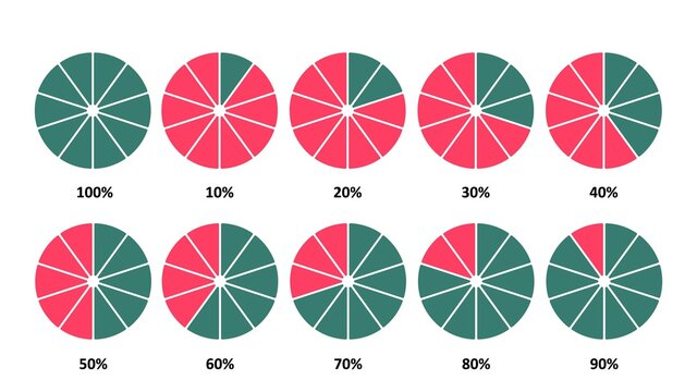 Infographic circles with percentages set. Pie green chart with divided red parts progress marketing statistics and quality work business vector product.