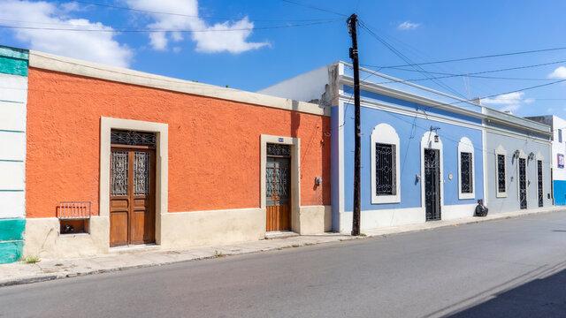 Facade of typical Mexican colonial building in Merida, Yucatan, Mexico