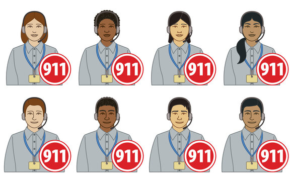 diversity, race, ethnicity of 911 operator, dispatcher vector icons, male and female, wearing headset with 911 sign, isolated on a white background