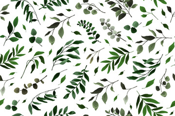 Fototapeta Seamless pattern with greenery leaves branch twig flora plants for floral watercolor wedding card, wallpaper, botanical foliage. Vector elegant herbal spring background obraz