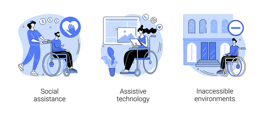 Help for disabled person abstract concept vector illustration set. Social assistance, assistive technology, inaccessible environments, caregiver support, adoptive technology, access abstract metaphor.