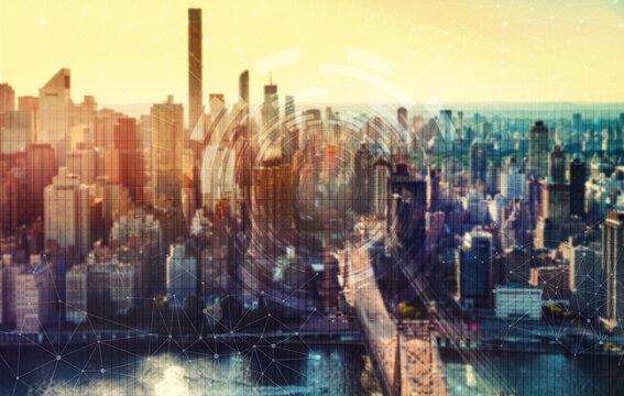 Technology grid with the New York City skyline near midtown
