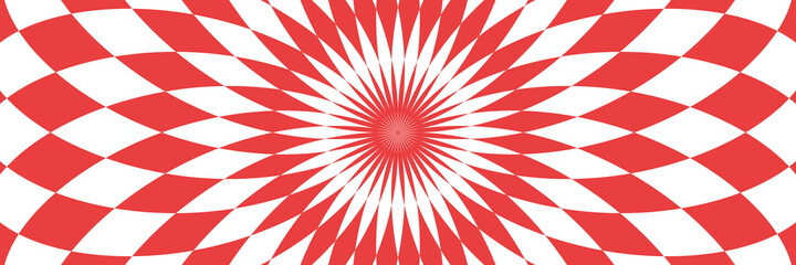 Vector illustration of checkered, rhombus pattern with optical illusion. Op art abstract background. Long horizontal banner.