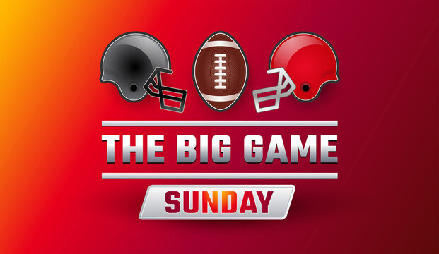 Super bowl big game sunday banner - Championship final red background vector illustration