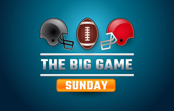 Football sunday USA banner super big game - gray and red football helmets, football ball, blue background