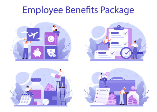 Employee benefits package concept set. Compensation supplementing