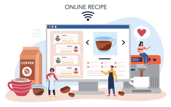 Barista online service or platform. Bartender making a cup of hot coffe.