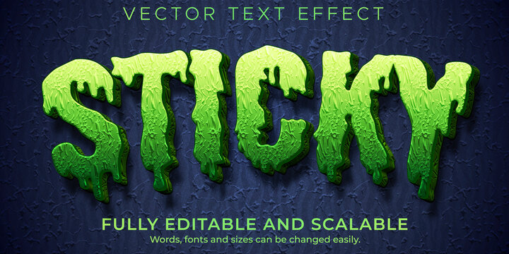 Sticky zombie text effect, editable monster and scary text style