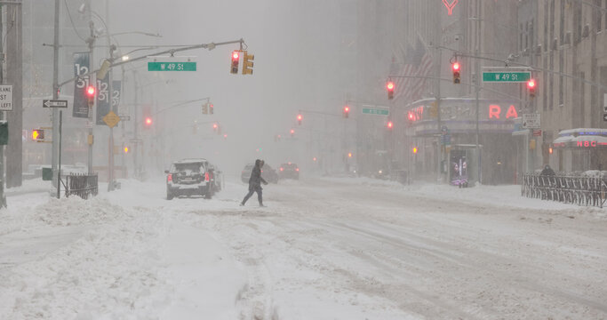 New York City in snow storm blizzard on February 1st 2021