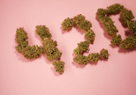 20 April symbol. 420 celebrate. Cannabis culture