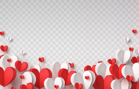 Valentine's paper confetti hearts isolated on transparent background. Vector white and red symbols of love border for romantic banner or Happy Mother's Day greeting card design